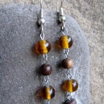 Amber Colored Glass Beads and Wood Beads