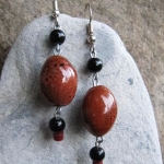 Burnt Orange Ceramic Bead and Black Beads