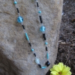Turquoise and Black Long Beaded Necklace